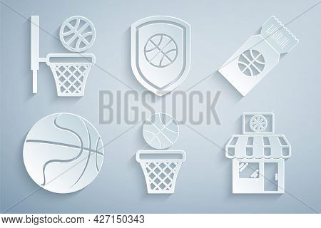 Set Basketball Ball And Basket, Game Ticket, Sports Shop Basketball, Shield In The And Icon. Vector