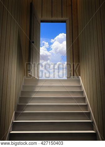 Hope and spirituality concept. Steps leading from a dark basement to open the door. Blue sky with clouds visible through an open door. 3d render