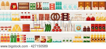 Supermarket Food. Grocery Shelves With Cereal Bread And Milk, Eggs Or Pasta. Market Showcase Templat