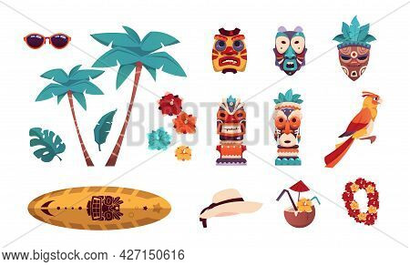 Hawaiian Tiki Icons. Summer Tropical Art With Palms And Flowers. Surfboard, Sunglasses Or Hat. Beach