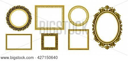 Golden Picture Frames. Royal Antique Photo Border. Empty Interior Old Style Ornamental Wall Elements