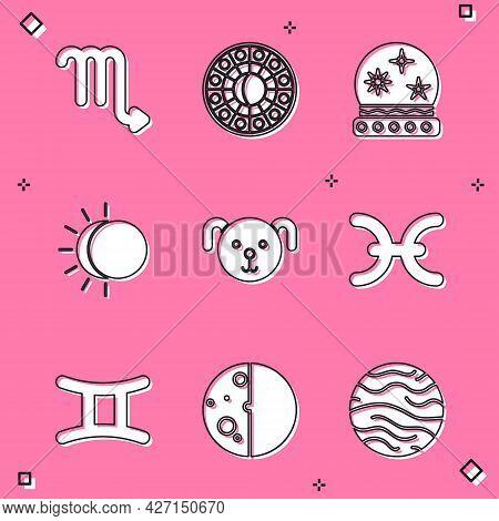 Set Scorpio Zodiac, Astrology Horoscope Circle, Magic Ball, Eclipse Of The Sun, Dog, Pisces, Gemini