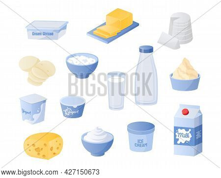 Dairy Products. Cartoon Bottles And Glasses Of Milk. Cheese Or Butter. Jars Of Yogurt And Cream. Fre