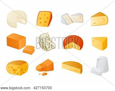 Cheese. Cow Goat And Sheep Dairy Products Of Varying Maturity. Camembert And Gouda Slices. Gourmet A