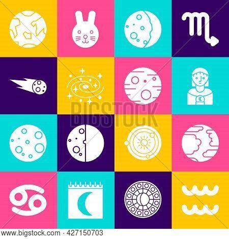 Set Aquarius Zodiac, Planet Mercury, Astrology Woman, Eclipse Of The Sun, Milky Way Spiral Galaxy, C