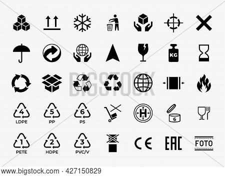 Package Box Icon. Recycle And Transportation Caution Symbols. Delivery And Logistics Care Signs For