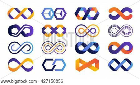 Infinite Logo. Colored Mobius Ribbon And Eternity Geometric Symbols. Blue And Orange Limitless Busin