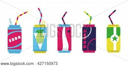 Soda Cans. Cartoon Fizzy Sweet Summer Drinks In Metal Bottles With Plastic Straws. Fruit Juice Carbo