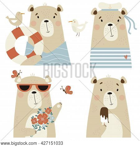 Set Of Cute Bears. A Sailor In A Hat And Striped Vest, With A Seagull And A Lifebuoy, In Sunglasses
