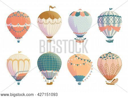 Retro Air Balloon. Vintage Airships With Hot Airy Sphere, Ballast And Baskets. Old Style Flight Tour