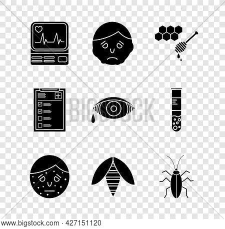 Set Monitor With Cardiogram, Inflammation Face, Honeycomb Honey Dipper, Face Psoriasis Eczema, Bee,