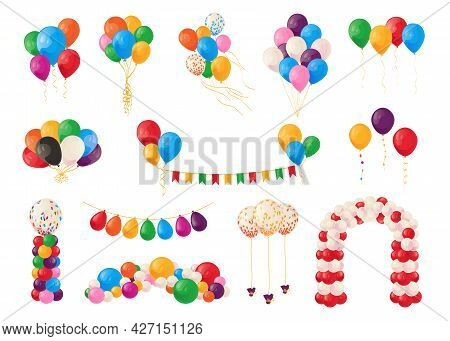 Cartoon Balloons. Birthday Party Celebrate And Carnival Decoration Elements. Bunch Of Festive Bright