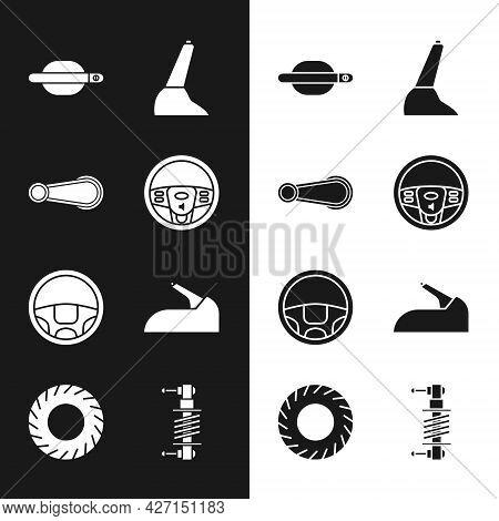 Set Steering Wheel, Car Door Handle, Handbrake, Shock Absorber And Tire Icon. Vector