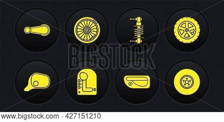 Set Car Mirror, Wheel, Gear Shifter, Door Handle, Shock Absorber, Brake Disk And Icon. Vector