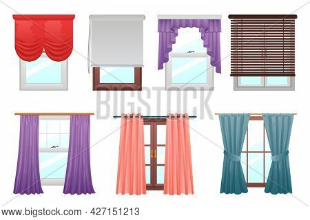 Curtains On Windows. Cartoon Interior Decoration. Indoor Hanging Textile For Kitchen And Living Room