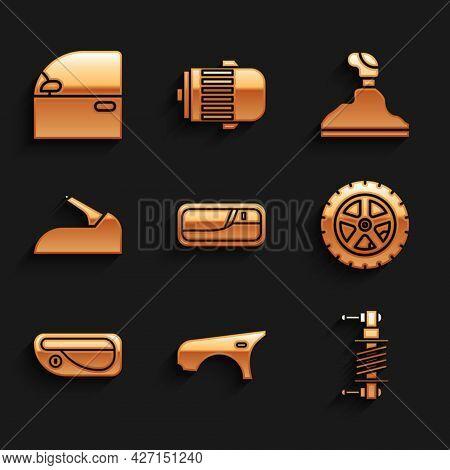 Set Car Door Handle, Fender, Shock Absorber, Wheel, Handbrake, Gear Shifter And Icon. Vector