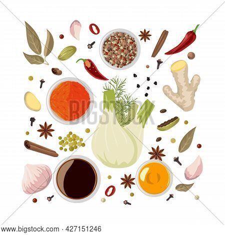 Chinese . Traditional Oriental Cuisine Condiments For Sauce. Natural Fresh, Dry And Powder Pungent T