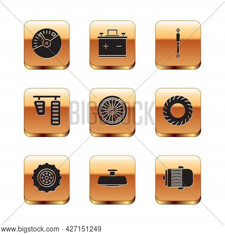 Set Speedometer, Car Wheel, Mirror, Gas And Brake Pedals, Shock Absorber, Electric Engine And Batter