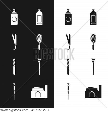 Set Hairbrush, Curling Iron, Spray Can, Bottle Of Shampoo, Nail File, Makeup, Cream Cosmetic Tube An