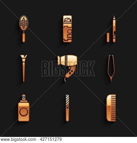 Set Hair Dryer, Nail File, Hairbrush, Eyebrow Tweezers, Spray Can, Makeup, Eyeliner, Eyebrow And Ico