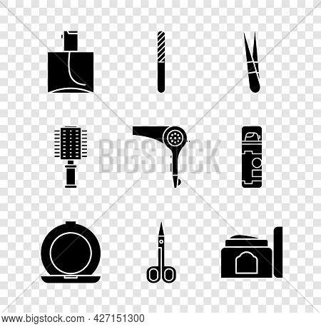 Set Perfume, Nail File, Eyebrow Tweezers, Makeup Powder With Mirror, Scissors, Cream Cosmetic Tube,