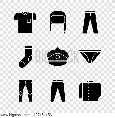 Set Polo Shirt, Winter Hat With Ear Flaps, Pants, Sport Pants, T-shirt, Socks And Police Cap Cockade