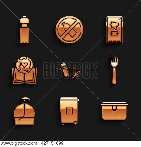 Set Problem Pollution Of The Ocean, Trash Can, Lunch Box, Disposable Plastic Fork, Bottle Liquid Soa