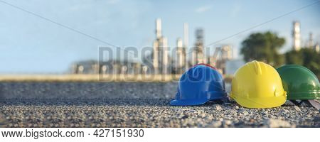 Banner Construction Hard Hat Safety Tools Equipment For Workers In Construction Site For Engineering