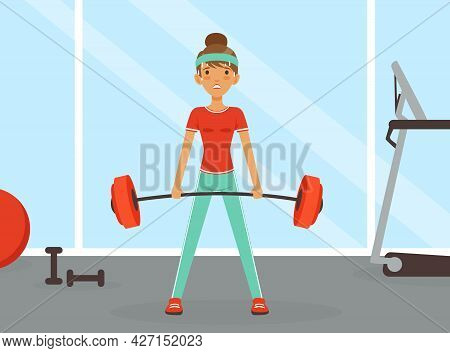 Young Woman Character With Headband And Sportswear Lifting Heavy Barbell Vector Illustration