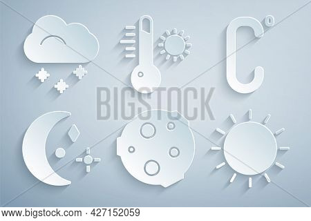 Set Moon, Celsius, And Stars, Sun, Meteorology Thermometer And Cloud With Snow Icon. Vector
