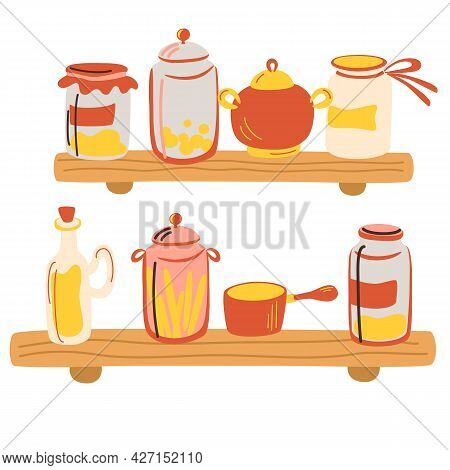 Kitchen Wooden Shelves With Glass Jars. Delicious Canned Food, Organic Nutrition, Homemade Preserves