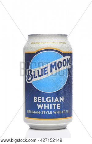 IRIVNE, CALIFORNIA - 17 JUL 2021: A cold can of Blue Moon Belgian White Ale with condensation on white.