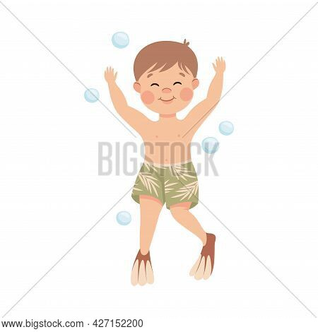 Little Boy In Trunks And Flippers Swimming Underwater With Bubbles Vector Illustration