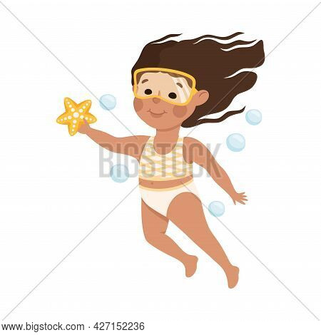 Little Girl In Swimsuit And Goggles Swimming Underwater With Starfish And Bubbles Vector Illustratio