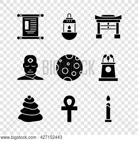 Set Decree, Paper, Parchment, Scroll, Ramadan Kareem Lantern, Japan Gate, Stack Hot Stones, Cross An