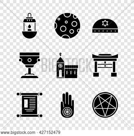 Set Ramadan Kareem Lantern, Moon, Jewish Kippah With Star Of David, Decree, Paper, Parchment, Scroll