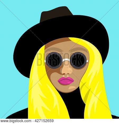 Portrait Of Young Blonde Girl In Glasses And Hat. Vector Flat Illustration.