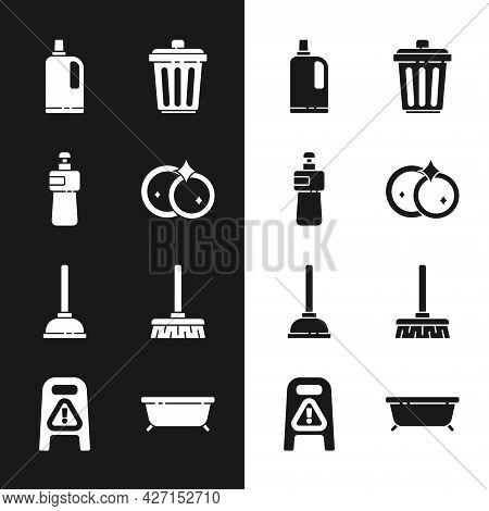 Set Washing Dishes, Dishwashing Liquid Bottle, Fabric Softener, Trash Can, Rubber Plunger, Handle Br