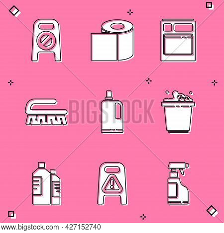 Set Wet Floor And Cleaning In Progress, Toilet Paper Roll, Kitchen Dishwasher Machine, Brush For, Fa