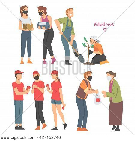 Man And Woman Volunteers Doing Different Charity Activity Donating Food Planting Tree Vector Set