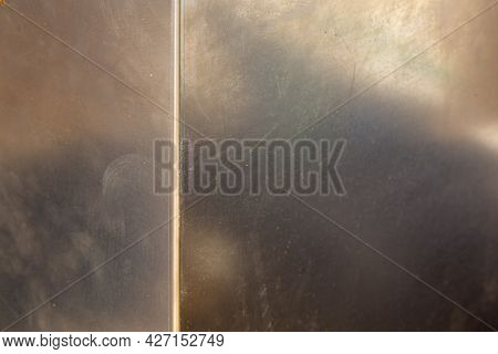 Uncoated Flat Cold Rolled Steel Sheet Surface With With One Bent Rib. Close-up With Selective Focus.