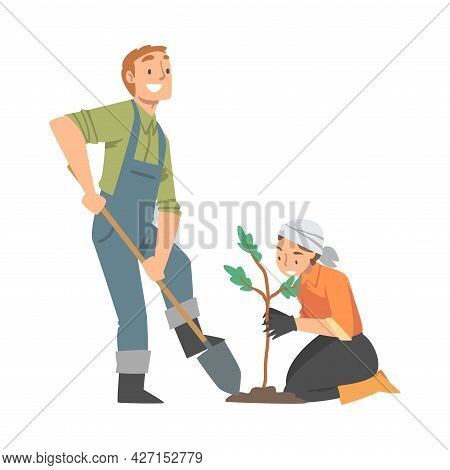 Man And Woman Volunteer Planting Tree Engaged In Freely Labour Activity For Community Service Vector