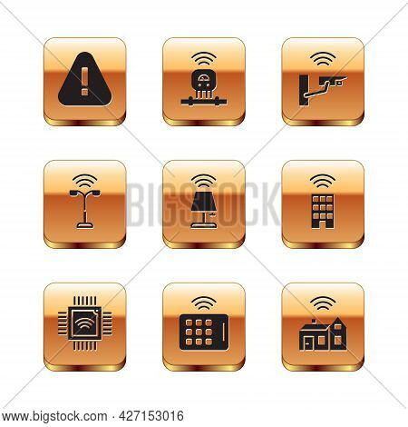 Set Exclamation Mark In Triangle, Processor With Microcircuits Cpu, Wireless Tablet, Smart Lamp, Str