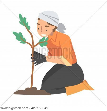 Woman Volunteer Planting Tree Engaged In Freely Labour Activity For Community Service Vector Illustr