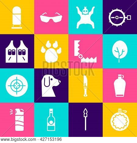 Set Canteen Water Bottle, Tree, Bear Skin, Paw Print, Hunting Jacket, Bullet And Trap Hunting Icon.