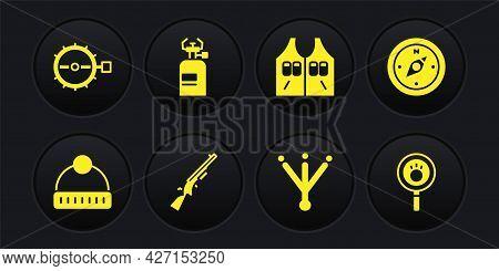 Set Winter Hat, Compass, Shotgun, Bird Footprint, Hunting Jacket, Camping Gas Stove, Paw Search And