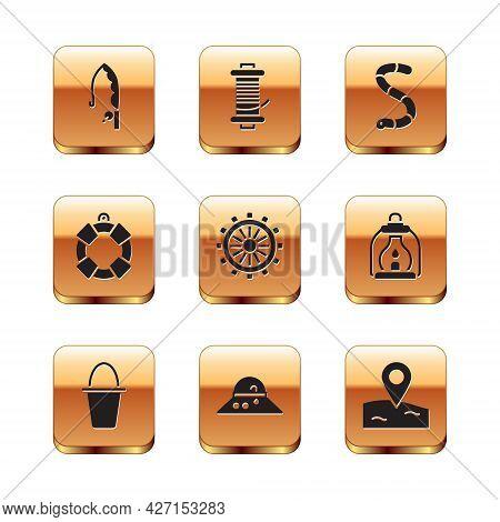 Set Fishing Rod, Bucket, Fisherman Hat, Ship Steering Wheel, Lifebuoy, Worm, Location Fishing And Sp