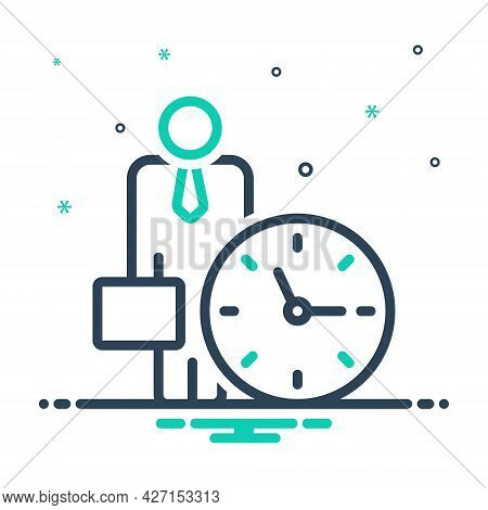 Mix Icon For Office-clock Around-the-clock Time-is-running Reminder Schedule Appointment Hour Quick