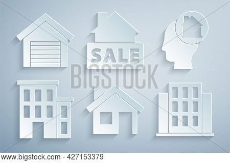 Set House, Man Dreaming About Buying House, Hanging Sign With Sale And Garage Icon. Vector