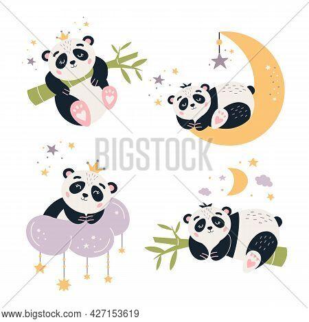 Cartoon Panda Vector Set Cute Baby Bear
